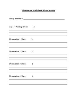 Observation Worksheet for Science
