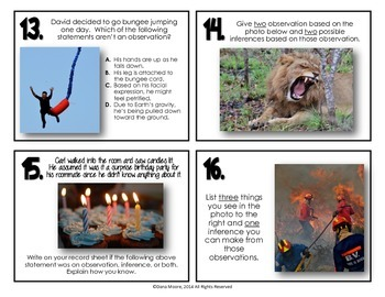 Observation and Inferences Task Cards