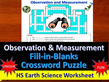 Observation and Measurement- Fill-in-Blanks & Crossword Puzzle (Earth Science)