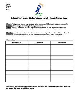 Observations Inferences And Predictions Activity Worksheet By