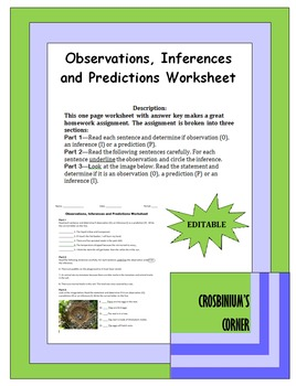 Observations Inferences And Predictions Worksheet By Crosbinium S