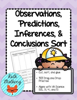 Observations, Predictions, Inferences, & Conclusions Sort - VA Science SOL 4.1