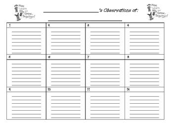 Observations Recording Sheet