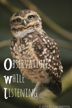 Observations While Listening (OWL) Music Binder Cover Sheet/Poster