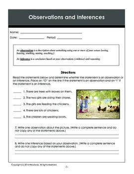 4 Observations & Inferences Handouts & Worksheets