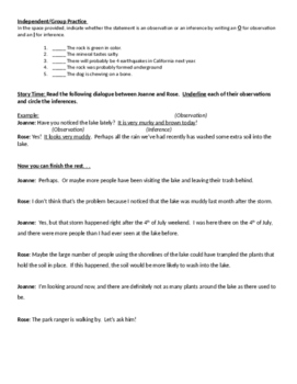 Observations and Inferences Handout