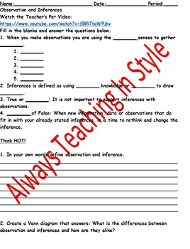 Observations and Inferences Video Worksheet (Editable)