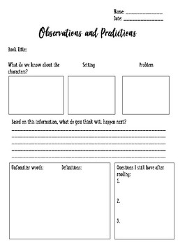 Observations and Predictions Worksheet