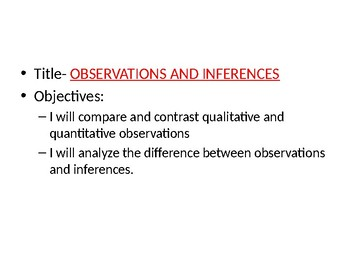 Observations vs Inferences and Qualitative vs Quantitative Data