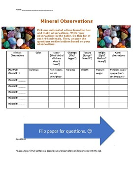Observing Minerals Lab (Guiding Questions)
