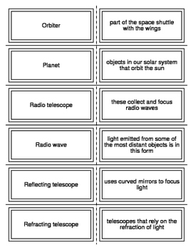 Observing and Exploring Space Flash Cards