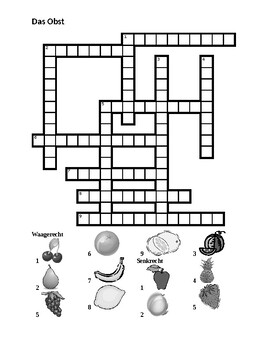Obst (Fruit in German) Crossword