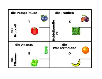 Obst und Gemüse (Fruits and Vegetables in German) 4 by 4
