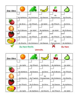 Obst und Gemüse (Fruit and Vegetables in German) Grid vocabulary activity