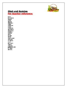 Obst und Gemüse (Fruits and Vegetables in German) wordsearch