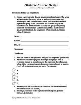 Obstacle Course Activity Template and Rubric