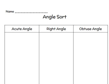 Obtuse, Right, Acute Angle Sort