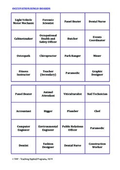 Occupation Bingo