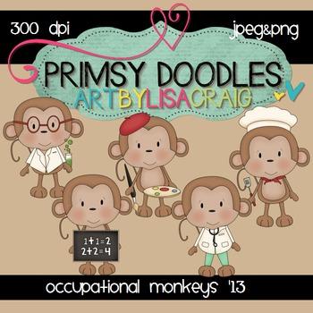 Occupational Monkeys 300 dpi clipart