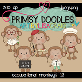 Occupational Monkeys 300 dpi clipart