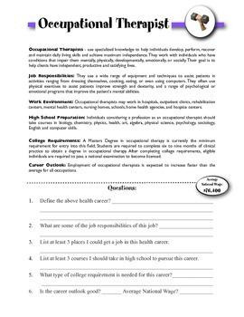 Occupational Therapist Information & Worksheet