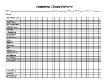 Occupational Therapy Daily Tracking Document