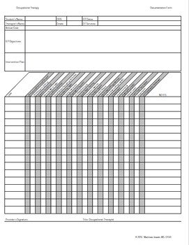 Occupational Therapy Documentation Form Data Sheet