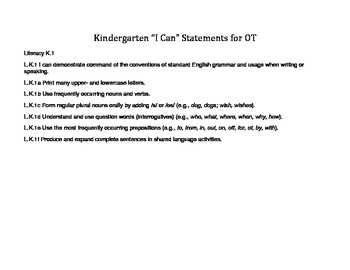 Occupational Therapy I can statements K-5