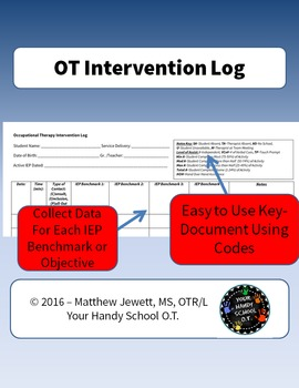 Occupational Therapy Intervention Log Data Sheet