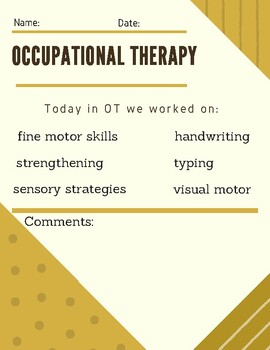 Occupational Therapy Parent Communication Form