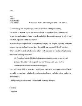 Occupational Therapy Sample Cover Letter