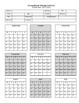 Occupational Therapy School Attendance Log