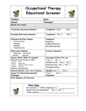 Occupational Therapy Screening Tool & Checklist