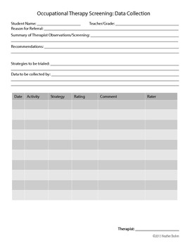 Occupational Therapy Screening Data Collection