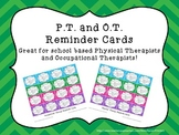 Occupational Therapy and Physical Therapy reminder cards