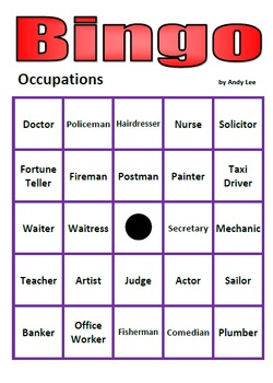 Occupations Bingo