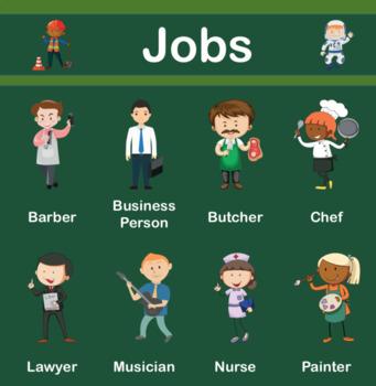 Occupations / Jobs - Poster, Flashcards, Bingo, Worksheet