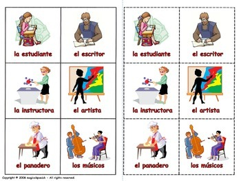Occupations in Spanish - Lottery (Board Game)