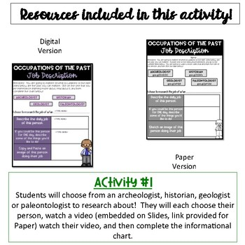 Occupations of the Past Activity {Digital AND Paper}