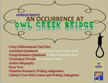"an occurrence at owl creek bridge analysis english literature essay In the story, ""an occurrence at owl creek bridge"" bierce effectively gives his character 'life' notwithstanding his turning up dead in the end, by using certain elements of naturalist and realist literature."