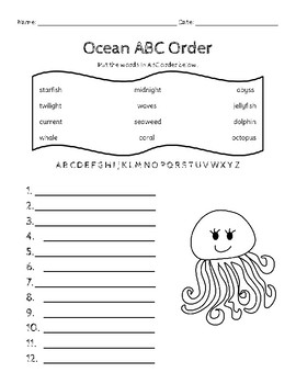 Ocean ABC Order