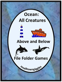 Ocean Math and Literacy File Folder Games for Interactive