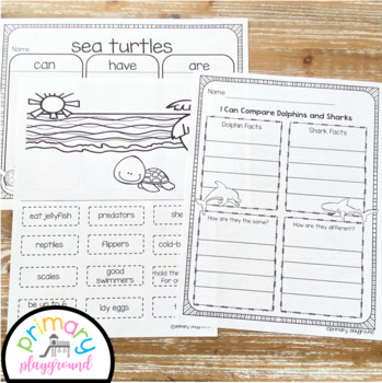 Ocean Activities No Prep Math, Literacy and Science Pack
