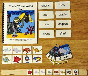"""Ocean Adapted Book And Vocabulary Activities:  """"There Was a Weird Diver"""""""