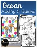 Ocean Math Activities: Adding 3 / Three Addend Addition Games