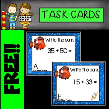 FREE Ocean Addition Task Cards