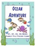 Ocean Adventure Ot, Op, Og, Ob Word Family File Folder Game