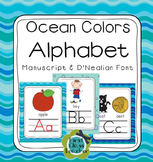 Ocean Colors Alphabet Poster & Letter Sound Pack (manuscript & d'nealian)