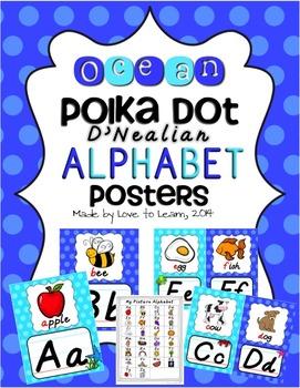Ocean Alphabet Posters - Polka Dot - D'Nealian Manuscript
