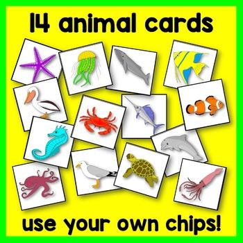 Ocean Animal BINGO Game Math Center